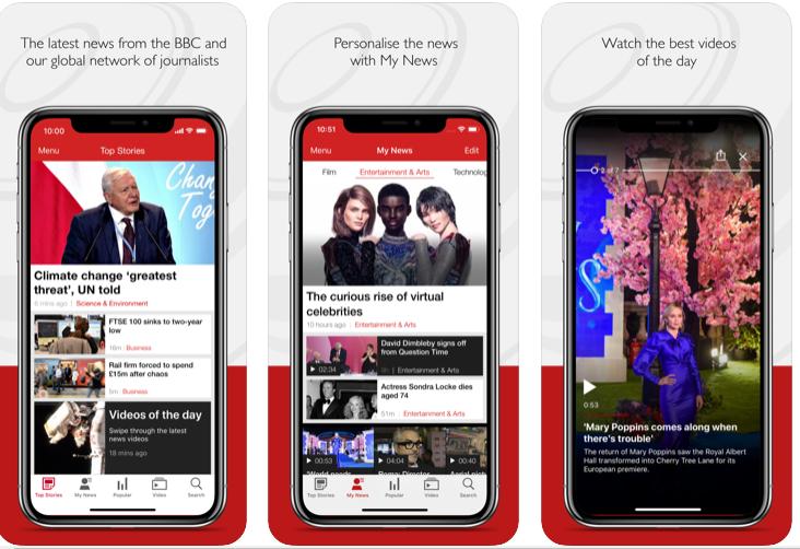 BBC Newsのアプリ