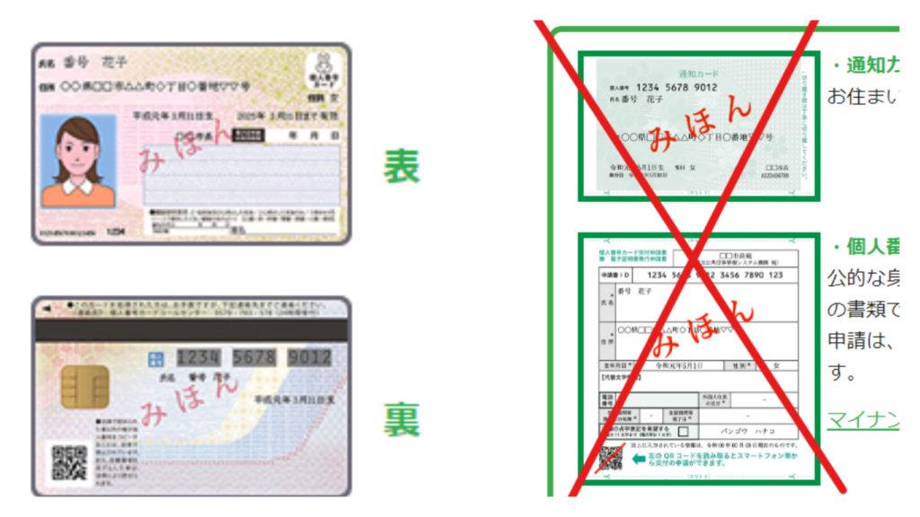 マイナンバーカードと通知カードの見本