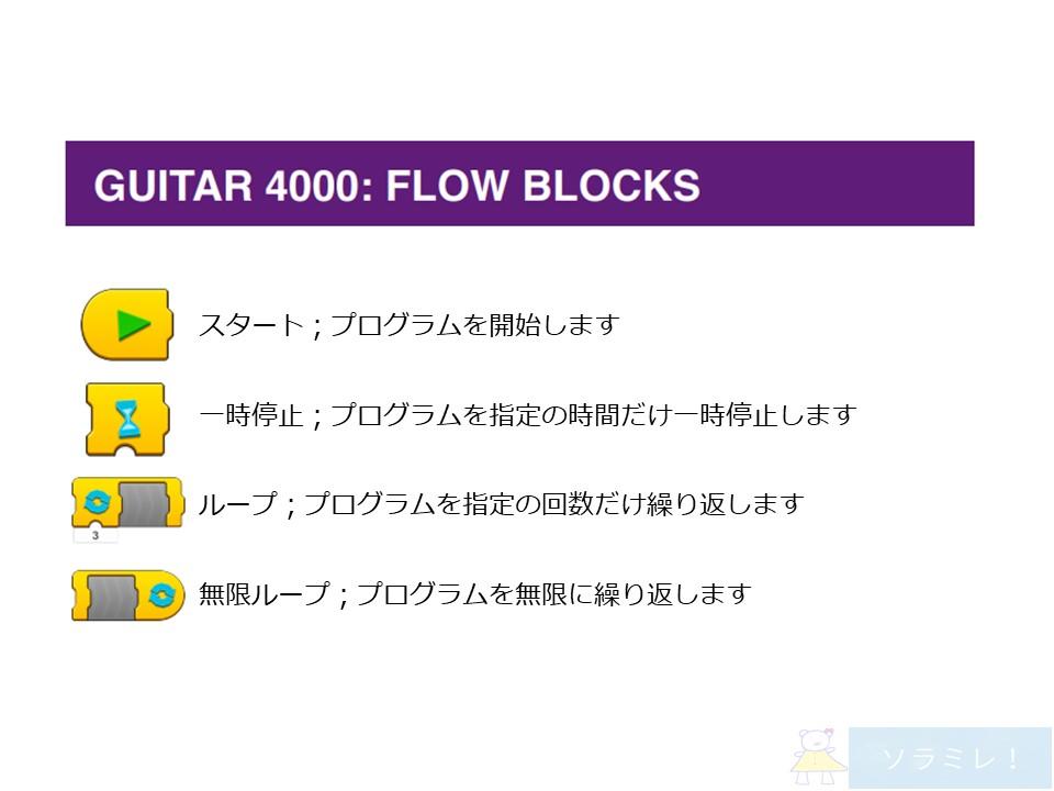 レゴブーストプログラミングブロックの説明【Guitar4000編】